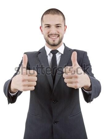 Affaires pouce up jeunes homme d'affaires isolé Photo stock © zittto