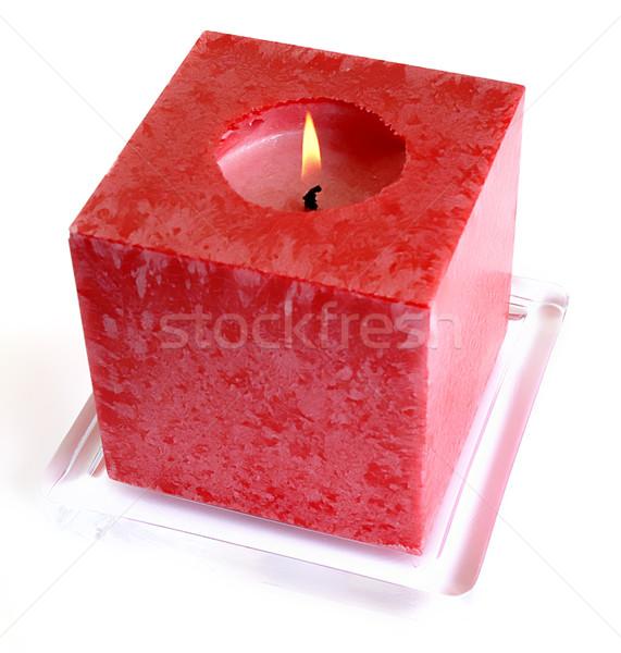 Foto stock: Vela · vermelho · luz · branco · luzes · paz