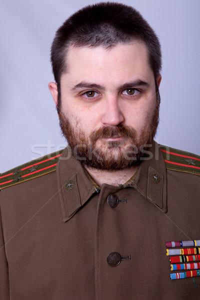 Orosz fiatalember katonaság stúdió arc portré Stock fotó © zittto