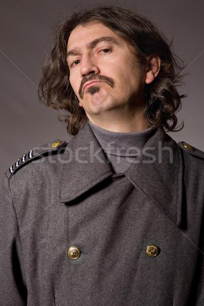 Russo militari giovane studio foto rosso Foto d'archivio © zittto