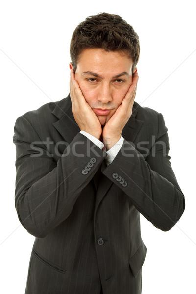 Baş ağrısı işadamı takım elbise el adam Stok fotoğraf © zittto