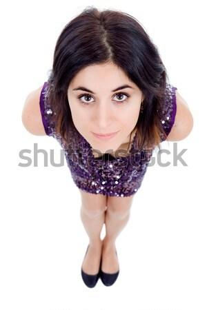 Aramak genç güzel bir kadın yalıtılmış beyaz Stok fotoğraf © zittto