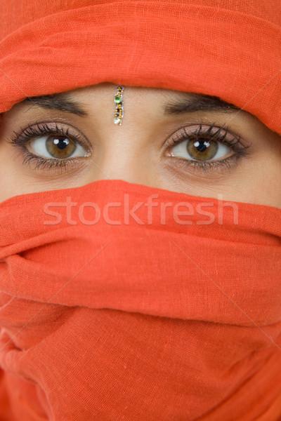 Vrouw sluier jonge vrouw portret studio Stockfoto © zittto