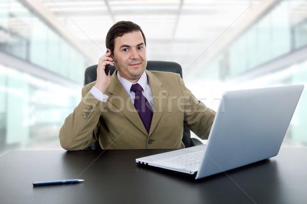 çalışma işadamı dizüstü bilgisayar ofis iş mutlu Stok fotoğraf © zittto