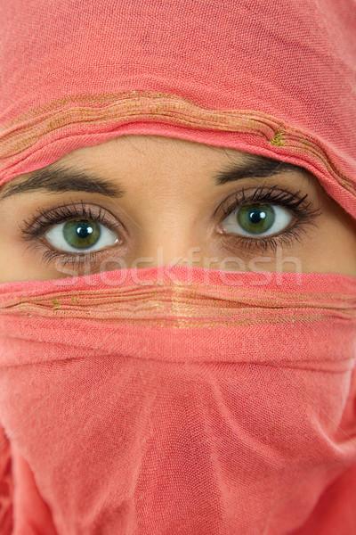 Nő fátyol fiatal nő közelkép portré stúdió Stock fotó © zittto