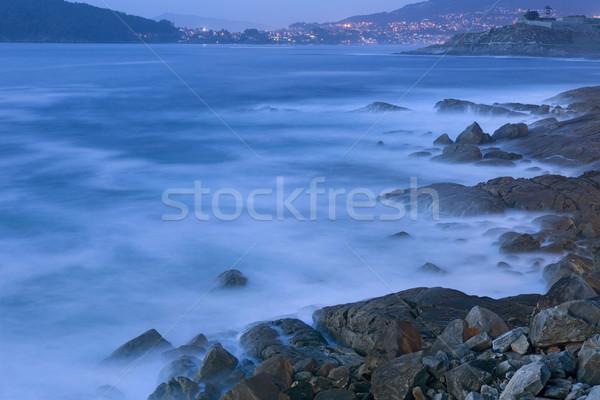 Oceanen lange blootstelling kust galicië Spanje water Stockfoto © zittto