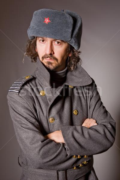 Militar moço russo estúdio quadro vermelho Foto stock © zittto