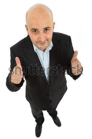 Gelukkig jonge man armen geïsoleerd witte Stockfoto © zittto