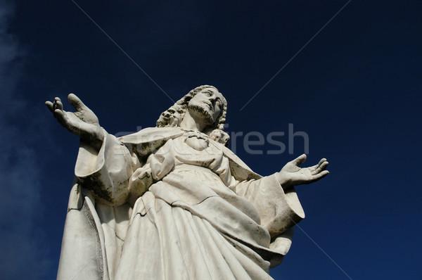 Mesih heykel eller İsa taş dua Stok fotoğraf © zittto
