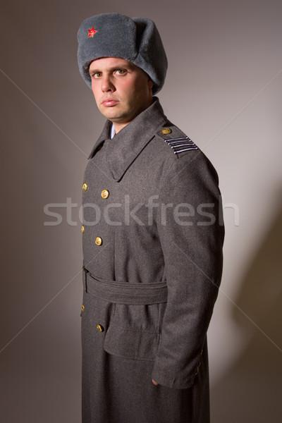 Foto stock: Militar · moço · russo · estúdio · quadro · vermelho