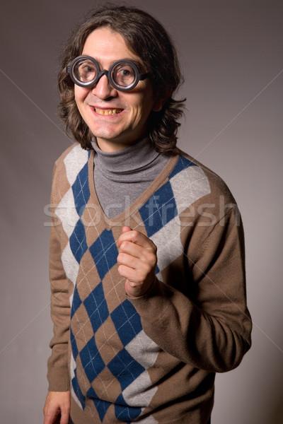 Stockfoto: Grappig · bril · leraar · studio · foto · gezicht