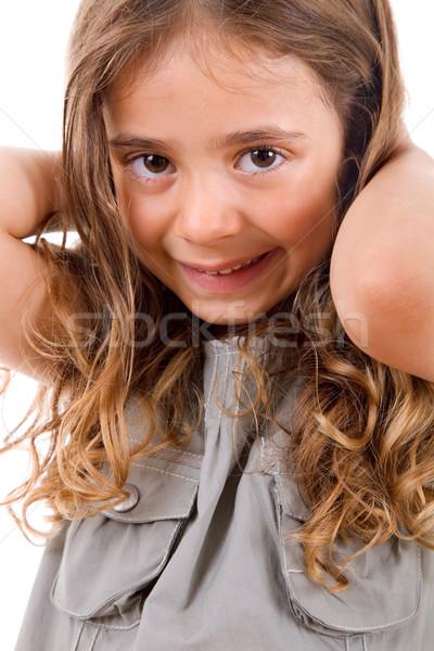 Joven jóvenes niña feliz retrato aislado blanco Foto stock © zittto