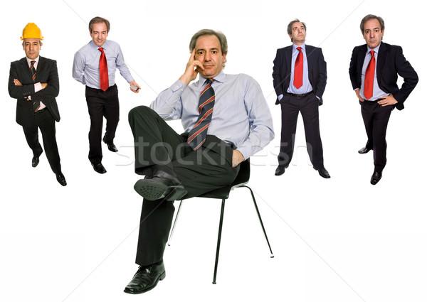 Foto stock: Assento · maduro · empresário · diferente · posições · isolado