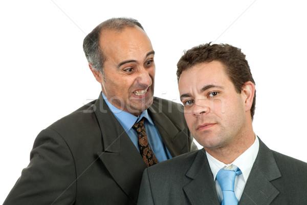 Ira dos hombres de negocios aislado blanco oficina Foto stock © zittto