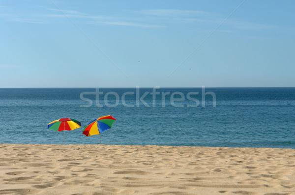 Tengerpart színes esernyők dél Portugália tenger Stock fotó © zittto