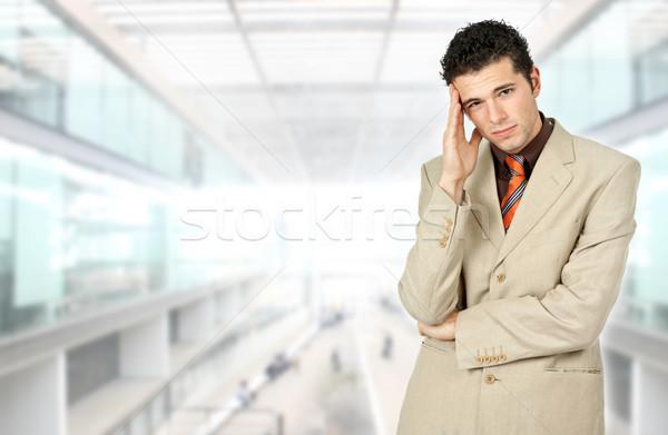 Baş ağrısı işadamı takım elbise ofis adam Stok fotoğraf © zittto