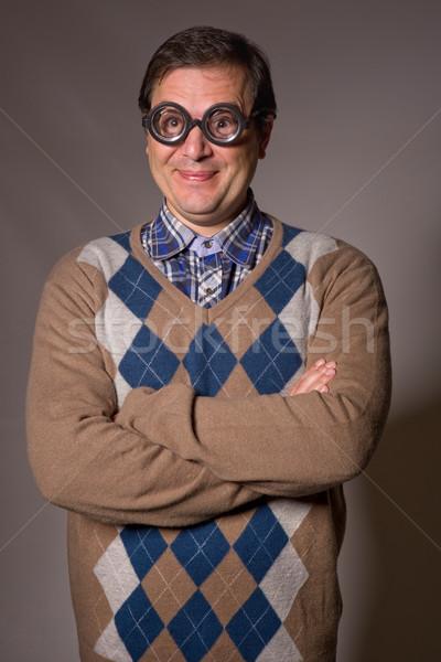 Foto d'archivio: Divertente · occhiali · insegnante · studio · foto · faccia