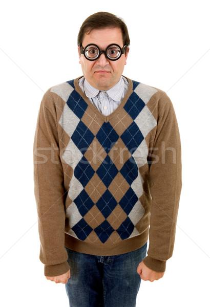 Geek człowiek odizolowany biały moda portret Zdjęcia stock © zittto