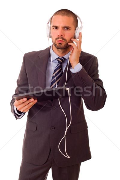 üzletember táblagép fejhallgató izolált boldog videó Stock fotó © zittto