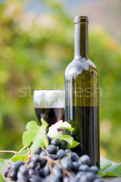 Сток-фото: бутылку · вина · виноград · деревянный · стол · Открытый · солнце