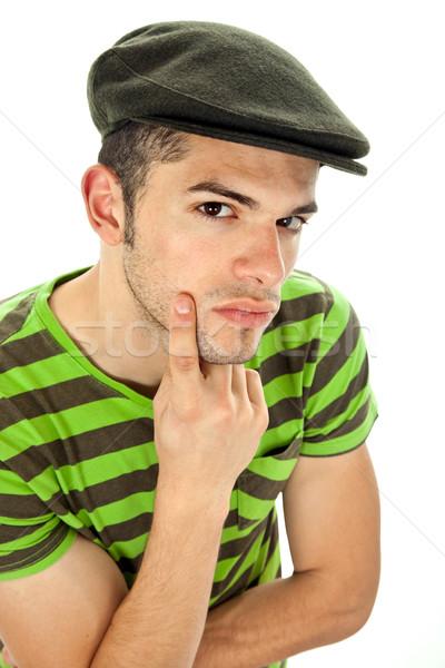 Smart man jonge portret witte gezicht Stockfoto © zittto