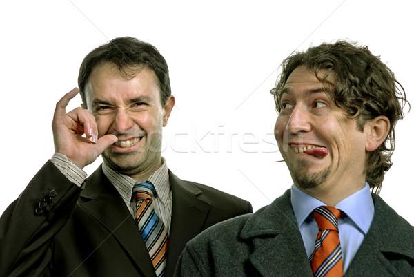 Dom twee dom jonge mannen portret witte Stockfoto © zittto