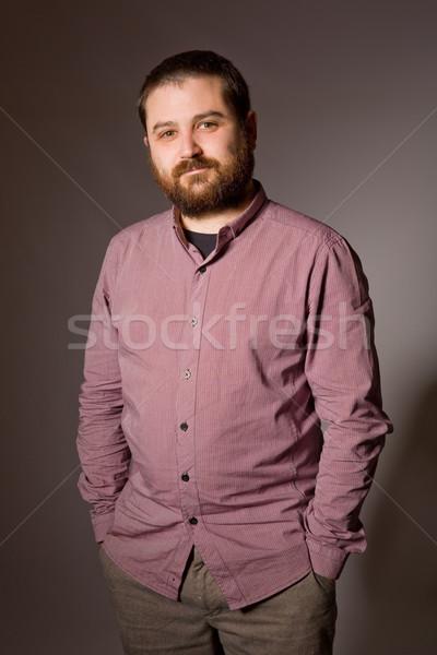 Homem retrato jovem casual escuro cara Foto stock © zittto