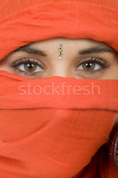 Kadın peçe genç kadın portre stüdyo Stok fotoğraf © zittto