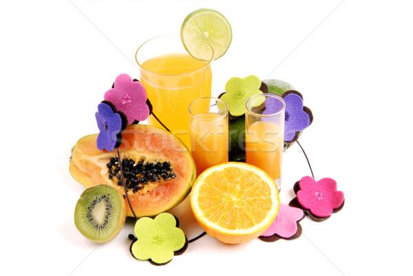 Turuncu cam portakal suyu kesmek portakal meyve Stok fotoğraf © zittto