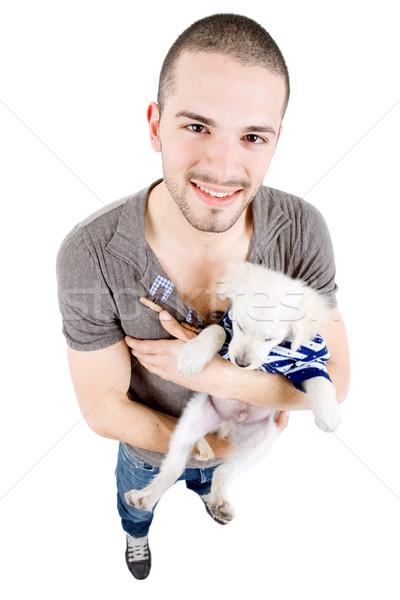 Férfi egészalakos fiatal lezser kis kutya fehér Stock fotó © zittto