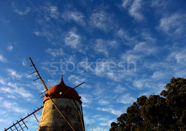 Fırıldak eski gökyüzü Bina ağaçlar kayalar Stok fotoğraf © zittto