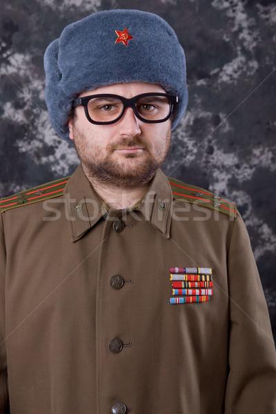 Russisch jonge man militaire studio man Rood Stockfoto © zittto