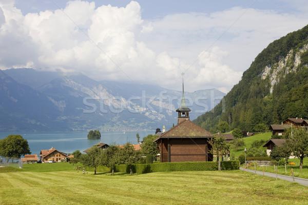 Ahşap kilise görmek göl dağ İsviçre Stok fotoğraf © zittto