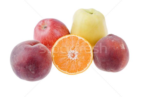 Stok fotoğraf: Meyve · şeftali · elma · turuncu · yalıtılmış · beyaz