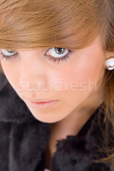 Portre genç mutlu güzel bir kadın kız Stok fotoğraf © zittto