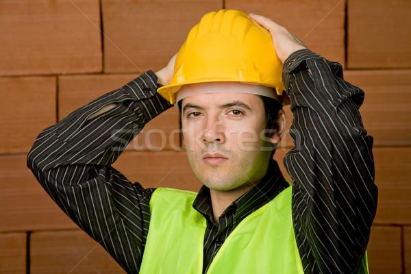 Mühendis sarı şapka tuğla duvar iş adam Stok fotoğraf © zittto