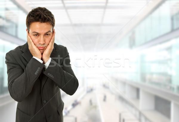 Fejfájás üzletember gesztusok iroda kéz férfi Stock fotó © zittto