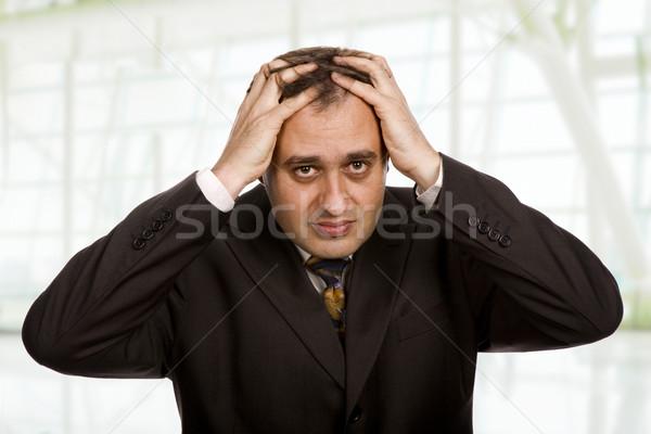 Hoofdpijn zakenman pak gebaren kantoor jonge Stockfoto © zittto
