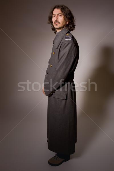 Orosz katonaság férfi teljes alakos portré csillag Stock fotó © zittto