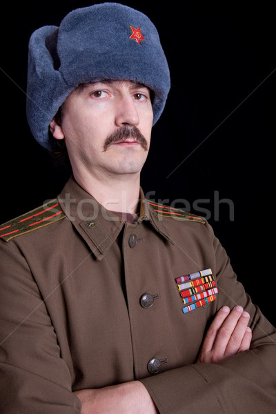 Russo moço militar estúdio retrato preto Foto stock © zittto