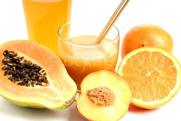 Laranja vidro suco de laranja cortar laranjas fruto Foto stock © zittto