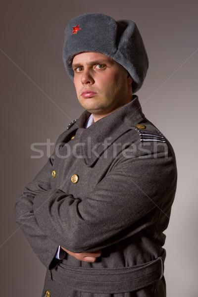 Katonaság fiatalember orosz stúdió kép piros Stock fotó © zittto