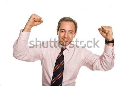 Stok fotoğraf: Kazanan · başarılı · iş · adamı · silah · yalıtılmış · beyaz