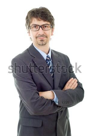 Iş adamı genç portre yalıtılmış beyaz yüz Stok fotoğraf © zittto