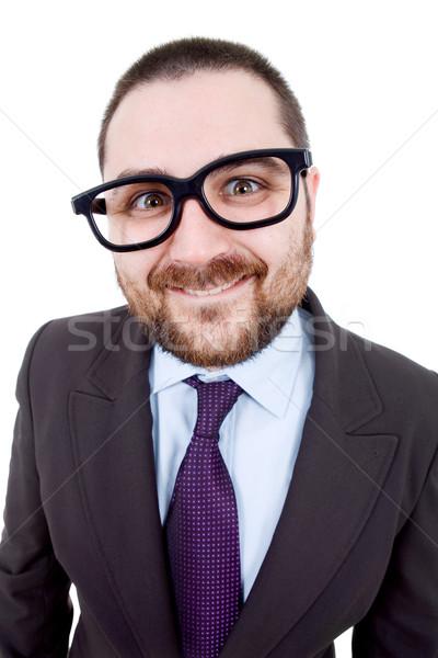 Dom jonge zakenman portret geïsoleerd witte Stockfoto © zittto