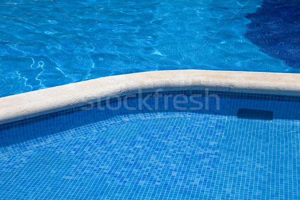 Zwembad Blauw water detail zomer tijd Stockfoto © zittto