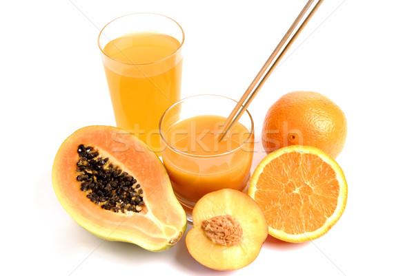 Meyve suyu cam portakal suyu kesmek portakal doğa Stok fotoğraf © zittto