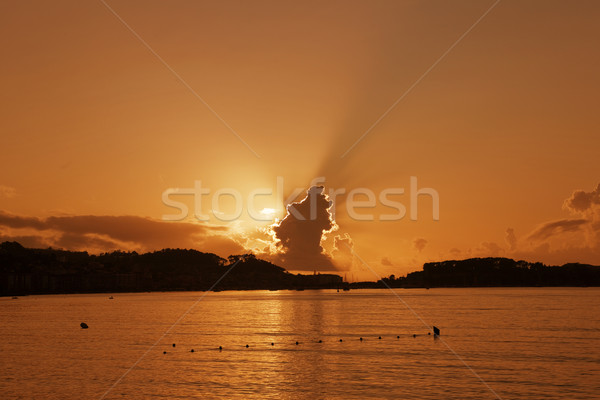 Zonsondergang strand galicië Spanje landschap zee Stockfoto © zittto