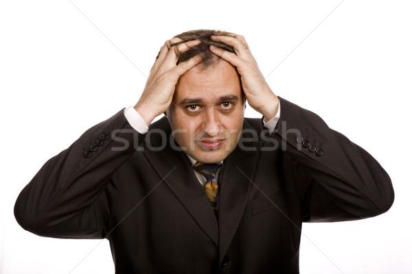 головная боль бизнесмен костюм стороны молодые Сток-фото © zittto