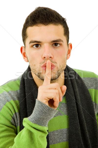 Silencio joven gesto dedo boca Foto stock © zittto